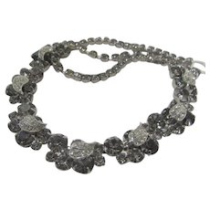 Signed Weiss Necklace With Smoky and Clear Crystals Set in Silver Tone