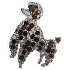 Silver Tone Poodle With Faux Garnet and Faux Emerald Accents