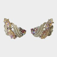 Vintage Ledo Signed Clip On  Earrings With Enamelling and Crystals