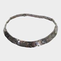 Sterling Silver Signed Mexican Link Choker Necklace