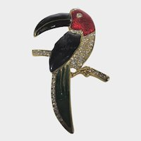 Goldtone Toucan Pin With Enamelling and Pave Crystals
