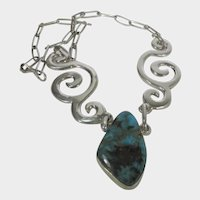 Sterling Silver Free Form Necklace With Nevada Turquoise Centerpiece