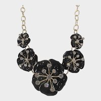 Black Enamel Pansy Necklace With Clear Crystal Accents