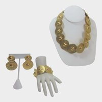 Statement Goldtone Set With Matching Necklace, Bracelet and Earrings for Pierced Ears