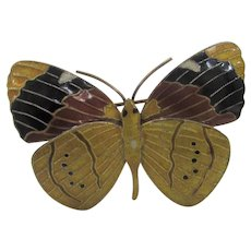 Sterling Silver Enamelled Butterfly Pin in Goldtone Yellow, Rust and Black