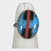 Native American Sterling Silver Ring With Turquoise, Onyx and Red Coral Inlay