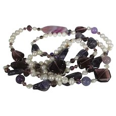 Freshwater Pearl, Polished Stone and Glass Bead Necklace
