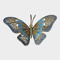 800 Silver Plique a Jour Enamelling Butterfly With Gilt Wash