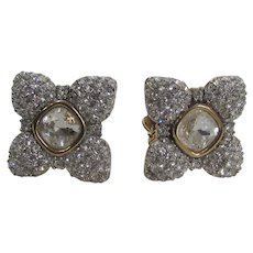 Swarovski Clip On Earrings With Clear Pave Crystals Surrounding Central Champagne Crystal