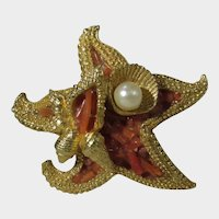 Coro Vintage Goldtone Starfish Pin With Faux Coral and Faux Pearl Accents