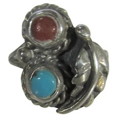 Native American Sterling Silver Turquoise and Coral RIng