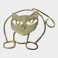 Modernist Grumpy Cat Pin in Goldtone Brushed and Polished Finishes