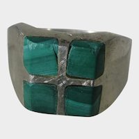 Sterling Silver Malachite Mexican Ring