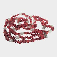 Red Coral and Freshwater Pearl Triple Necklace In Sterling Silver Clasp