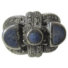 Sterling Silver Lapis  Ring With Marcasite Accents