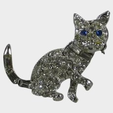 Blue Eyed Kitten Pin With Lots Of Clear Crystals
