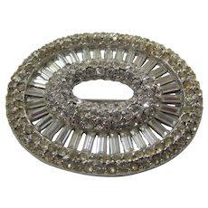 Vintage Classic Clear Crystal Pin With Rhodium Back