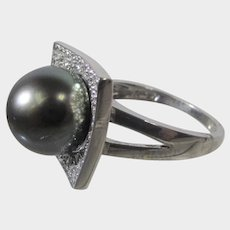 14 Karat White Gold Tahitian Black Pearl With Diamonds