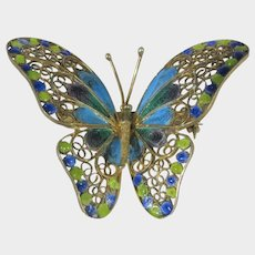 800 Silver Plique a Jour Butterfly in Blue and Green Enamelling