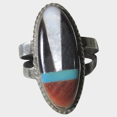 Native American Sterling Silver Ring With Inlaid Coral, Turquoise, Onyx and Mother of Pearl
