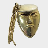Goldtone Modern Portrait Pin of a French Hipster