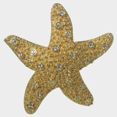 Swarovski Goldtone Starfish Pin Withe Scattered Clear Crystals