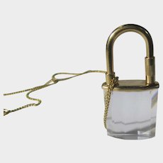 Swarovski Crystal Padlock on Goldtone Chain
