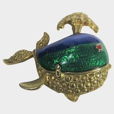 Spouting Whale Pin In Goldtone With Green and Blue Enameling