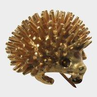 Vintage Sarah Coventry Mid Century Goldtone Porcupine Pin
