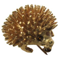 Vintage Sarah Coventry Mid Century Goldtone Porcupine Pin