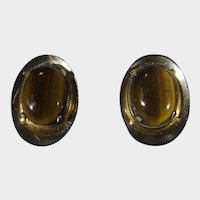 Vintage Tiger's Eye Goldtone Clip On Earrings