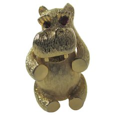 Signed Goldtone Happy Hippo With Faux Garnet Eyes