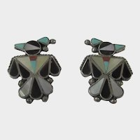 Sterling Silver Zuni Inlaid Thunderbird Pierced Earrings