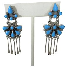 Sterling Silver Mexican Turquoise Earrings for Pierced Ears