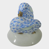 Herend Rare Two Blue Fishnet Rabbits on Base