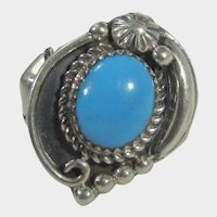 Gabby Signed Sterling Silver Ring With Sleeping Beauty Turquoise Cabochon