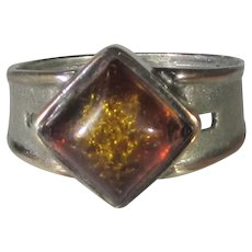 Sterling Silver Ring With Clarified Natural Amber