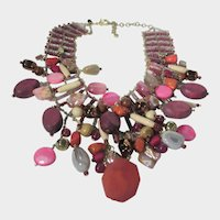 Chico's BoHo Necklace With Assortment of Glass, Stone and Wood Beads on a Silver Tone Beaded Chain