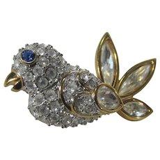 Swarovski Signed Goldtone BIrd Pin With Crystals All Around