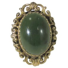 14 Karat Yellow Gold Edwardian Ring With Nephrite Jade Surrounded by Intricate Gold Work