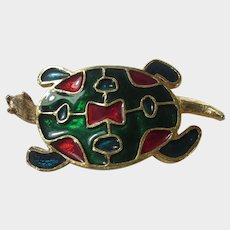 Goldtone and Enamelled Turtle Pin in Green and Red