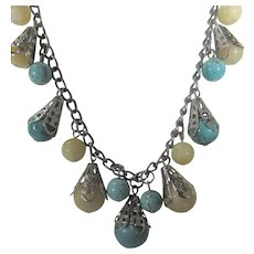 Silver Tone Necklace With Ten Drops of Polished Agate and Reconstituted Turquoise