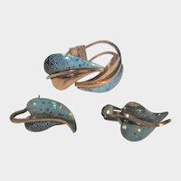 Vintage Renoir Matisse Enamelled Copper Bracelet and Matching Clip On Earrings Set
