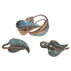 Vintage Renoir Matisse Enamelled Copper Bracelet and Matching Clip On Earrings Set