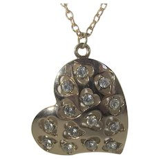 Goldtone Heart Pendant With Clear Crystals on a Goldtone Chain