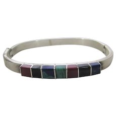 Sterling Silver Mexican Hinged Bangle With Inlaid Stones