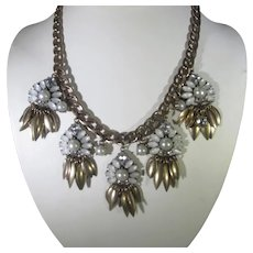 Vintage Goldtone Necklace With Five Major Pendants