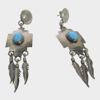 Native American Sterling Silver Pierced Earrings With Sleeping Beauty Turquoise by Franck Drapper