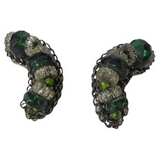 Hobe Signed Clip On Earrings In Silver Tone With Green and Clear Crystals