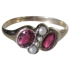 14 Karat Edwardian Ring With Garnet and Seed Pearls